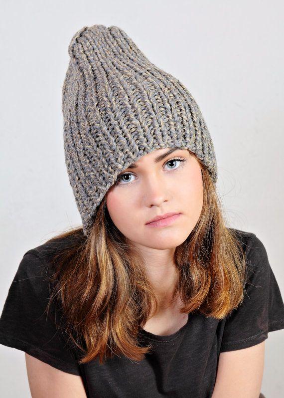 Chunky mustard hat  Gray hat  Mustard knit by Isabellwoolstudio