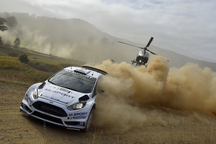 Coffs Harbour, Australia Elfyn Evans and Daniel Barritt of Great Britain compete in their M-Sport WRT Ford Fiesta during day one of the FIA World Rally Championship Photograph: Massimo Bettiol/