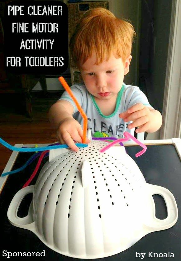 Exercise your toddler's fine motor skills, problem solving skills and hand-eye coordination with this simple yet attention grabbing pipe cleaner activity. (via House of Burke)