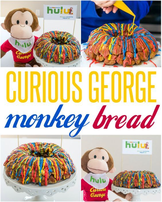 Curious George Monkey Bread Recipe | Curious George is now streaming on Hulu! Plan a fun family activity with this yummy monkey bread with a Curious George theme. It would be also be perfect for a birthday party!