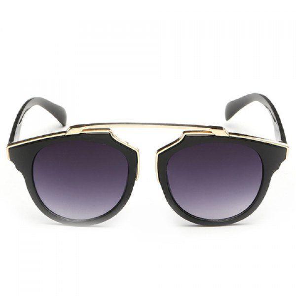 Chic Golden Metal Splicing Black Frame Sunglasses For Women
