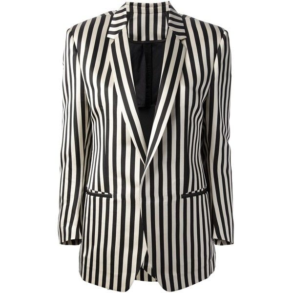 PETAR PETROV striped blazer (12.955 ARS) ❤ liked on Polyvore featuring outerwear, jackets, blazers, stripe jacket, long sleeve blazer, black and white stripe jacket, stripe blazer and petar petrov