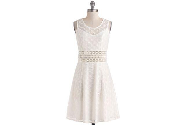 16 Wonderful White Dresses for Graduation; ModCloth Dress, $75. ModCloth.com.