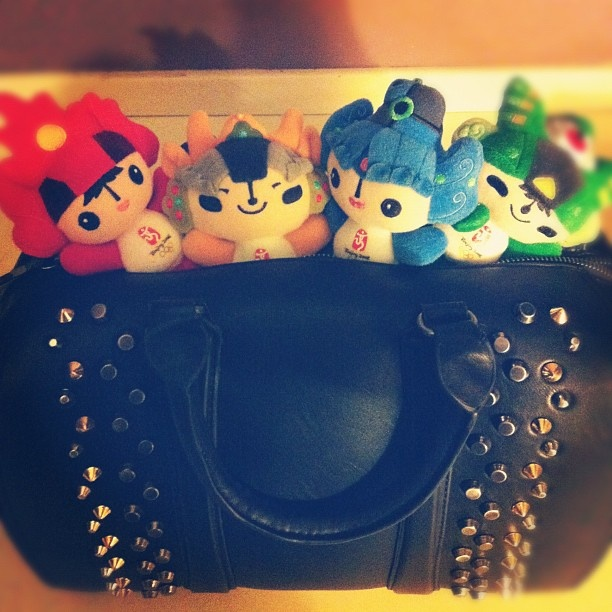 FUWA, the official Beijing 2008 Olympic mascots inside a ZARA's bowling bag #instacanvas