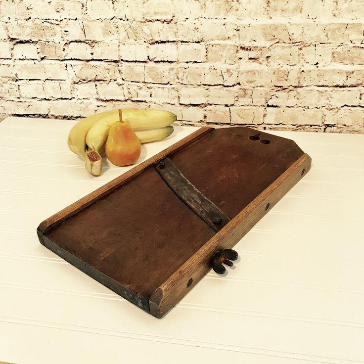 Wood Mandolin Vegetable Slicer, Wooden Veggie Slaw Slicer, Rustic Farmhouse Kitchen Decor, 1800s Cabbage Slicer, Q8 by NewLife4OldTreasures on Etsy