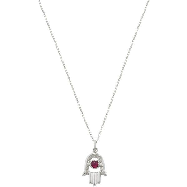 London Road 9ct White Gold Diamond and Ruby Hand Of Fatima Pendant... (£395) ❤ liked on Polyvore featuring jewelry, necklaces, long chain necklace, white gold chain necklace, pendant necklace, red pendant necklace and diamond chain necklace