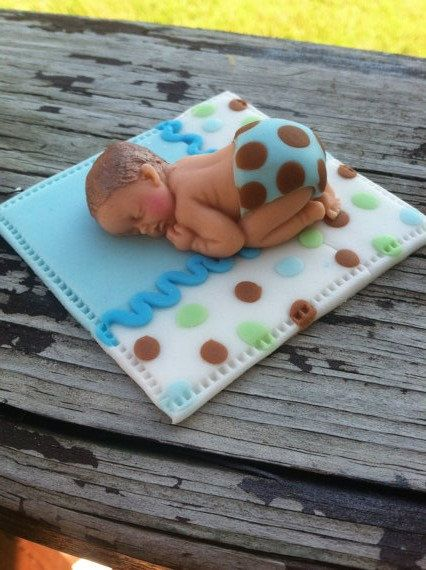 fondant baby/ edible cupcake topper/ baby on by BabyForever