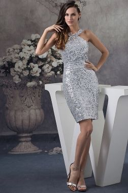 shinny halter silver dress