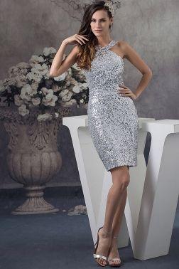 shinny halter silver dress
