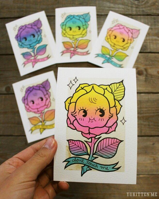 Kewpie Doll Rose Pastel Bright Traditional Tattoo Original Watercolor by Yukitten'me