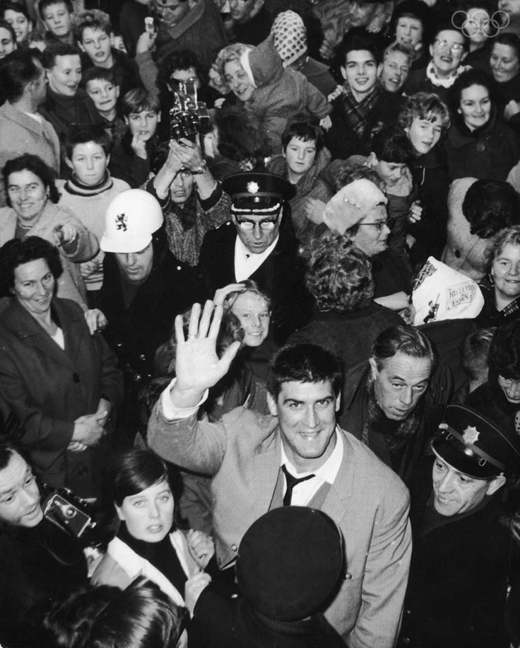 Anton Geesink back home in Utrecht after winning goldmedal at the Tokyo Olympics, 6th November 1964. First non-Japanese person to become world champion in Judo