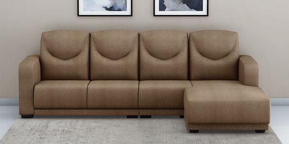 Douglas Lhs Sectional Sofa With Pouffe In Brown Colour By Muebles