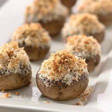 Garlic and Parmesan Stuffed Mushrooms:    Substitute Flax meal for the breadcrumbs and you are gluten free!