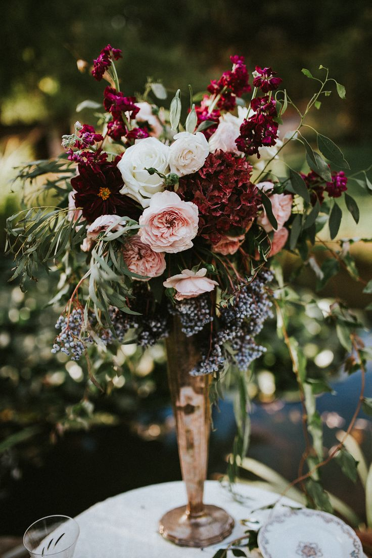 vintage tall wedding centerpiece