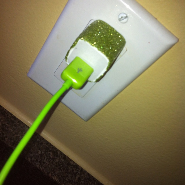 Glitter phone charger DIY  Everything on my Pinterest I have done/have I am marking :) My phone charger