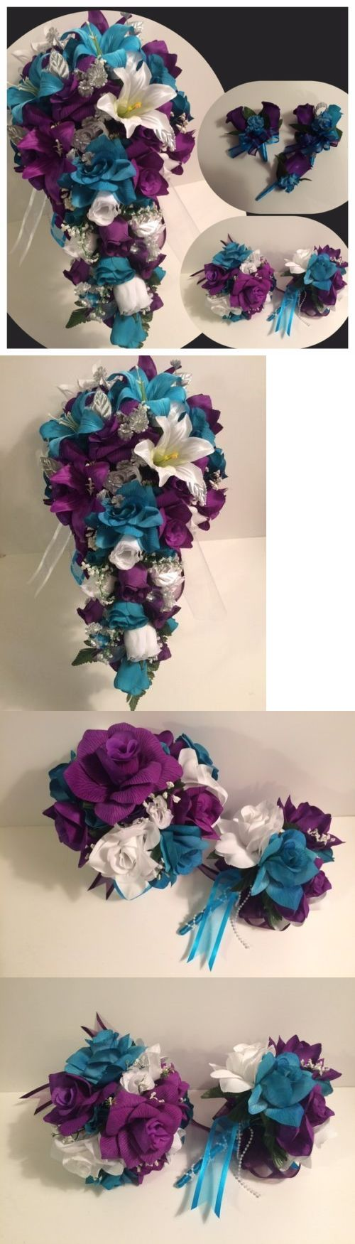 Flowers Petals and Garlands 20938: Purple Malibu Turquoise Tiger Lily Bridal Bouquet Cascade Package Boutonnieres -> BUY IT NOW ONLY: $239.99 on eBay!