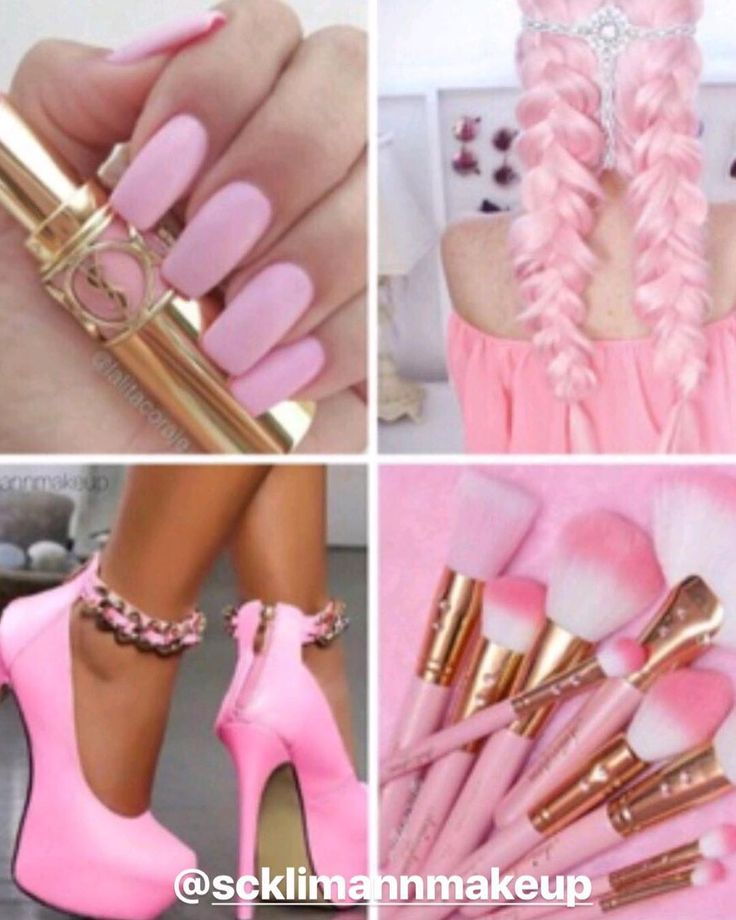 Summer Pinks!  Collage by @scklimannmakeup #hotonbeauty  .  .  .  .  #pinkhair #pinkbraids #pinkhighheels #pinkshoes #pinknails #pinkbrushes
