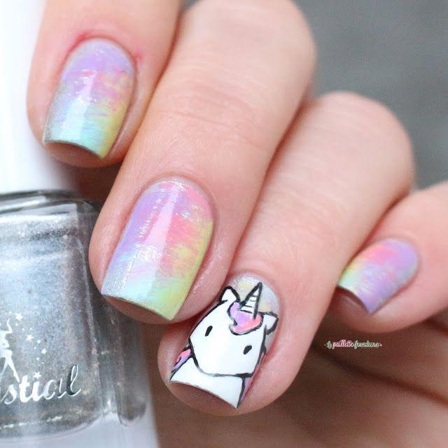 Paint All The Nails Presents Dry Brush Kawaii Unicorn Rainbow Nail Art Unicorn Nail Art Nail Art For Kids Rainbow Nail Art