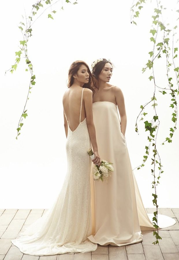 Ashely wedding dress and Kate wedding dress from Vania Romoff Bridal wedding dresses 2015 - minimal wedding dresses with full length skirts - see the rest of the collection on www.onefabday.com