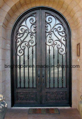 Foto de Porta de entrada dobro superior do ferro da porta da grade do ferro feito do arco em pt.Made-in-China.com