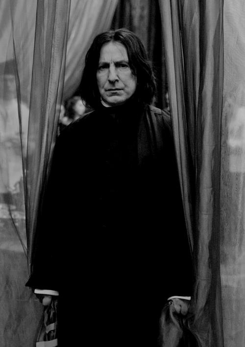 "Severus Snape played by Alan Rickman. Snape loved Harry Potter's mother Lily. He spoke his last words to Harry and said ""You have your mother's eyes"""