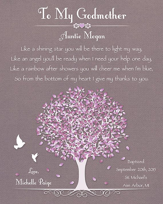 Godmother Gift Baptism Gift For Godmother by GoldHousePrints