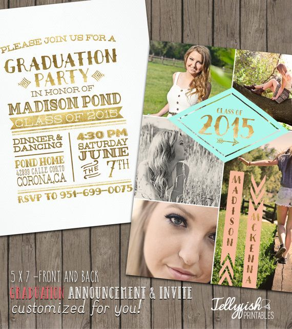 2015 Tribal Senior Graduation Announcement & Invitation - Customized for you! Gold, Peach, Mint. 5x7-Both Sides.