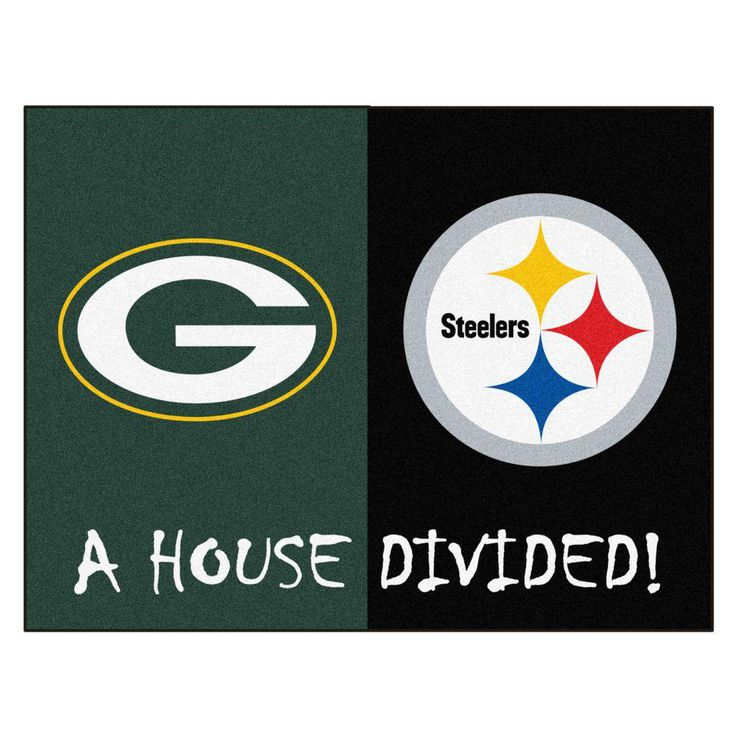 NFL Packers / Steelers Green House Divided 2 ft. 10 in. x 3 ft. 9 in. Accent Rug, Green/Black
