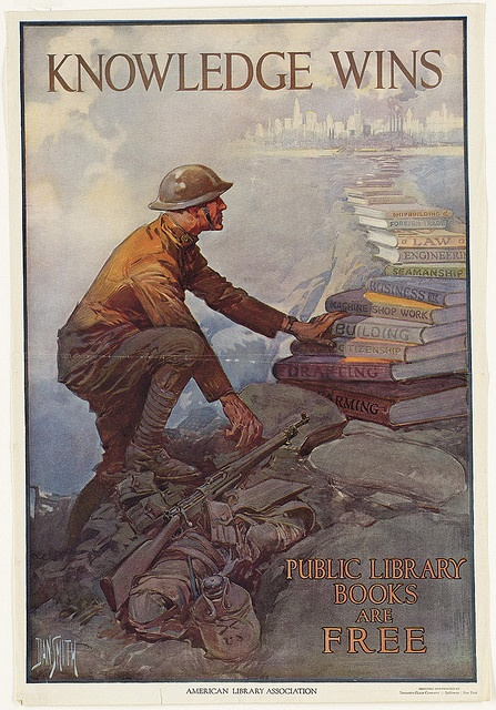 """Artist: Dan Smith, 1865-1934. The ALA produced this poster in 1918 as a part of its """"Books for Sammies"""" campaign to send books books to soldiers. In WW I, the English called American soldiers """"Yanks"""" or """"Sammies"""" for Uncle Sam. Thousands of these posters were displayed in libraries and expanded the libraries' visibility and their role as community centers by participating in wartime initiatives. #History #WWI History and WWI"""