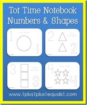 Free printables to add to your Tot Time Notebook, focusing on numbers 1-10 and shapes.  Links to Alphabet set also! Did this for my 2 1/2 year old and she LOVES It!