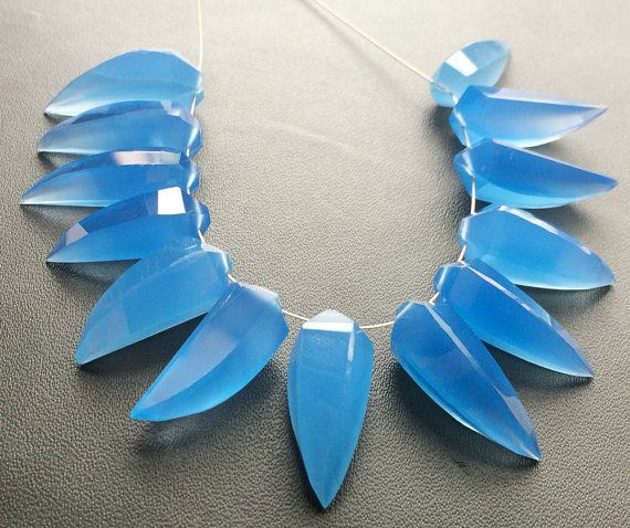 WHOLESALE 10 Pcs Blue Chalcedony Blue Chalcedony by gemsforjewels