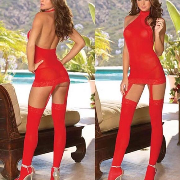 """SEXY RED BABYDOLL WITH GARTERS + G-STRING Sexy NWT red lingerie dress with garters and g-string. POLYESTER AND LACE (Stockings not included) SIZE OS fits most length is 29"""" and waist is 32"""" Intimates & Sleepwear"""
