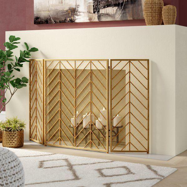 Macias 3 Panel Tin Fireplace Screen Decorative Fireplace Screens