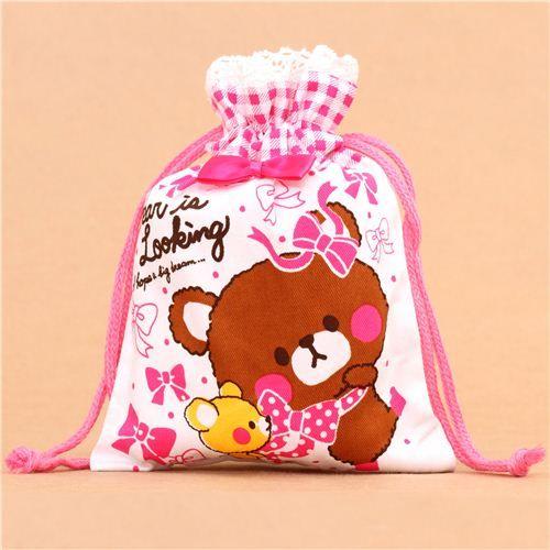 kawaii white teddy bear ribbon bento pouch lunch bag Japan