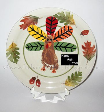 Footprint Turkey Thanksgiving Plate Keepsake