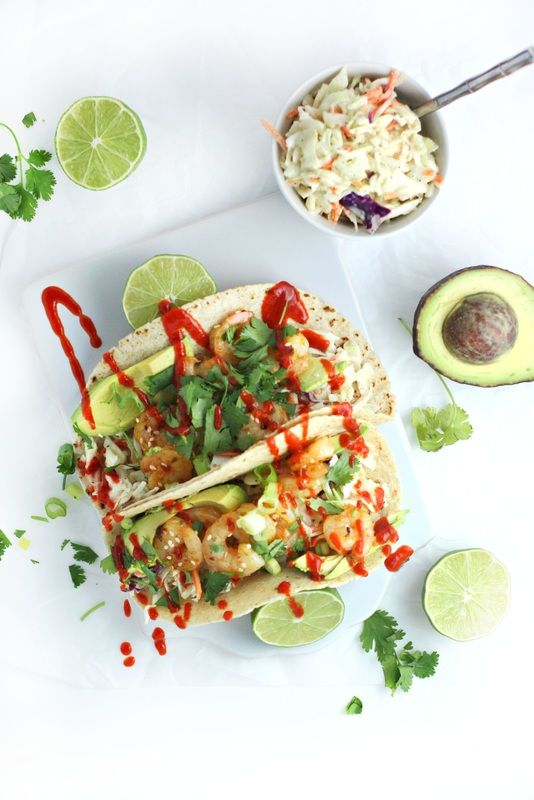 Shrimp Tacos with Sesame Citrus Slaw and Sriracha (dinner recipe) by www.droolworthydaily.com