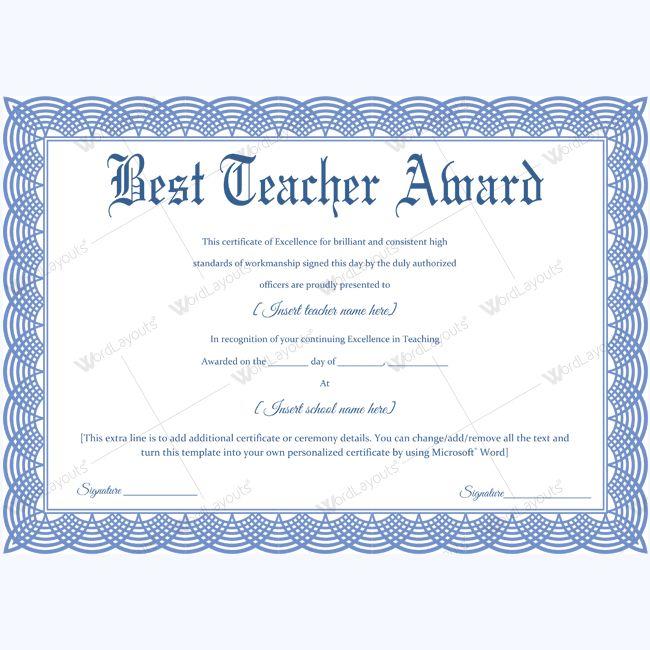 1000 images about best teacher award certificate for Teacher certificate template
