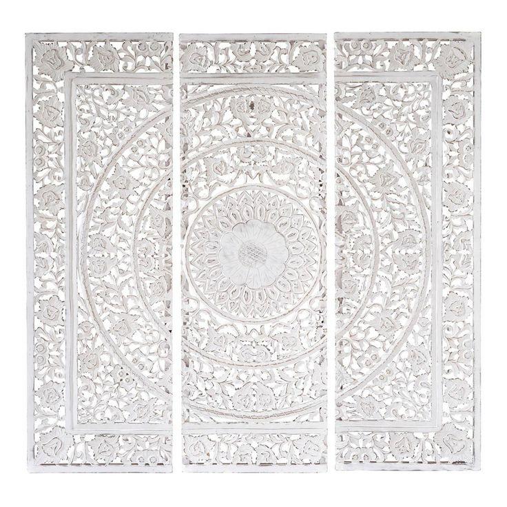 Triptychon ANDAMAN Aus Holz 150 X Cm Weiss