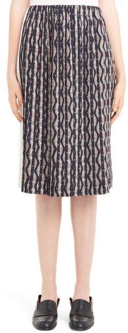 Loewe Zigzag Print Pleated Skirt