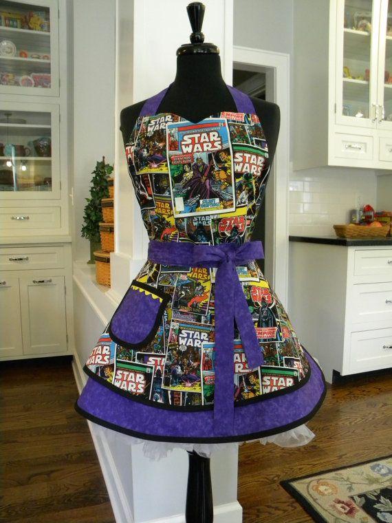 Womens Apron-Star Wars Double Skirt Sweetheart Apron