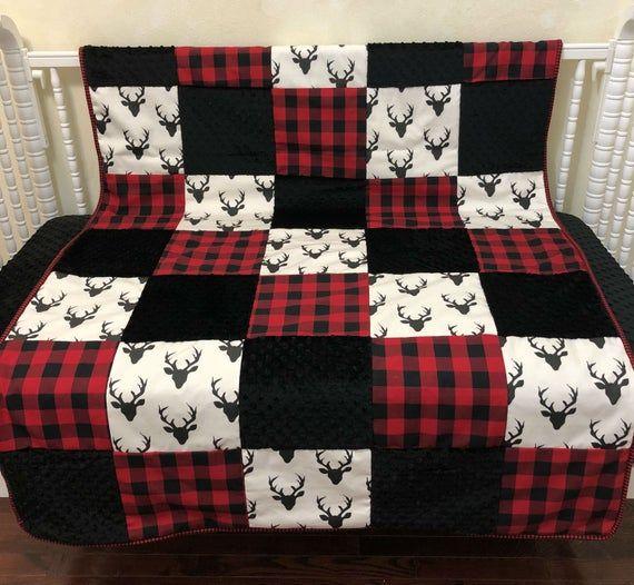 Crib Blanket Patchwork Baby, Buffalo Plaid Crib Bedding Set