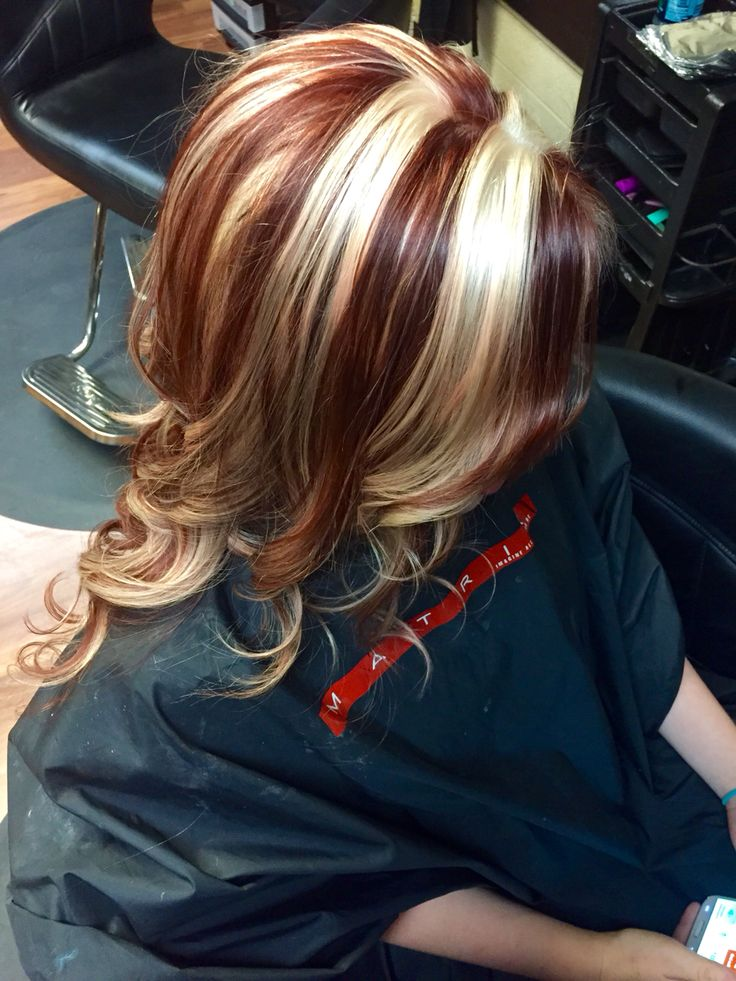 Red Copper With Platinum Chucky Highlights Hair By