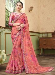 Pink Color Chiffon Brasso Designer Party Wear Sarees : Kishvi Collection YF-64978