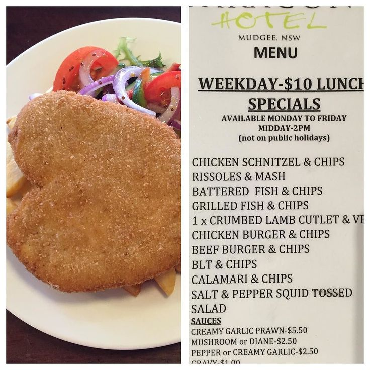Tuesday  lunch Special-Chicken Schnitzel  Chips-$10 or try some of our other $10 lunches!! Phone 63721313 eat in or takeaway #paragonmudgee #special #lunch