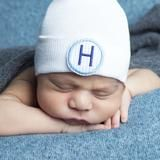 Blue and White Seersucker PATCH First Initial Newborn Boy Hospital Hat