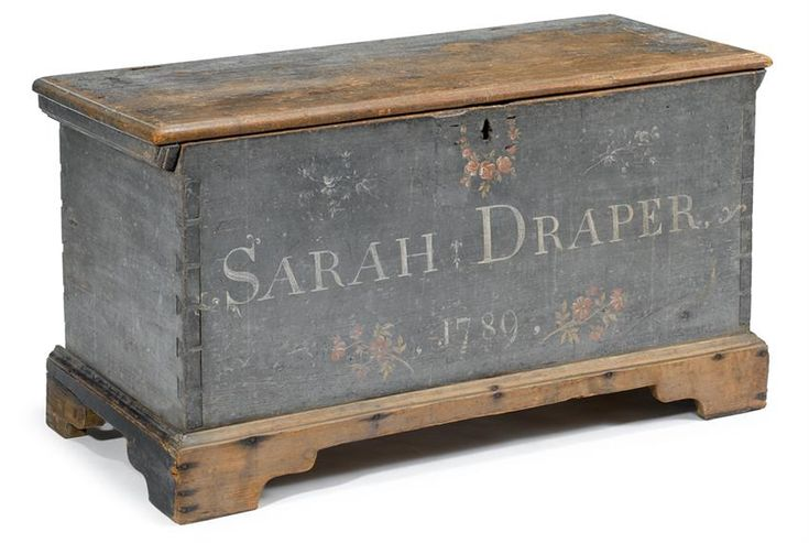 "Painted and decorated pine dower chest,  Sussex County, Delaware, inscribed and dated, ""Sarah Draper 1789"" #FreemansAuction"