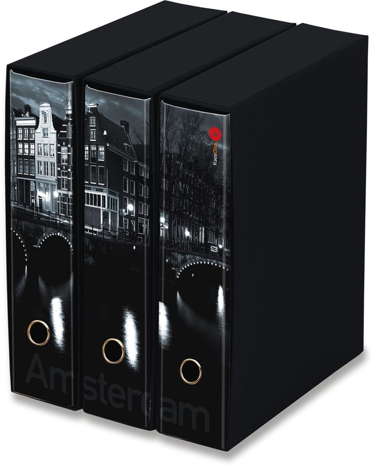 KAOS Lever Arch Files 2ring Binders with slipcase, Spine 8 cm, 3 pcs Set  - AMSTERDAM - 3 pcs Set Dimensions: 26.8x35x29 cm