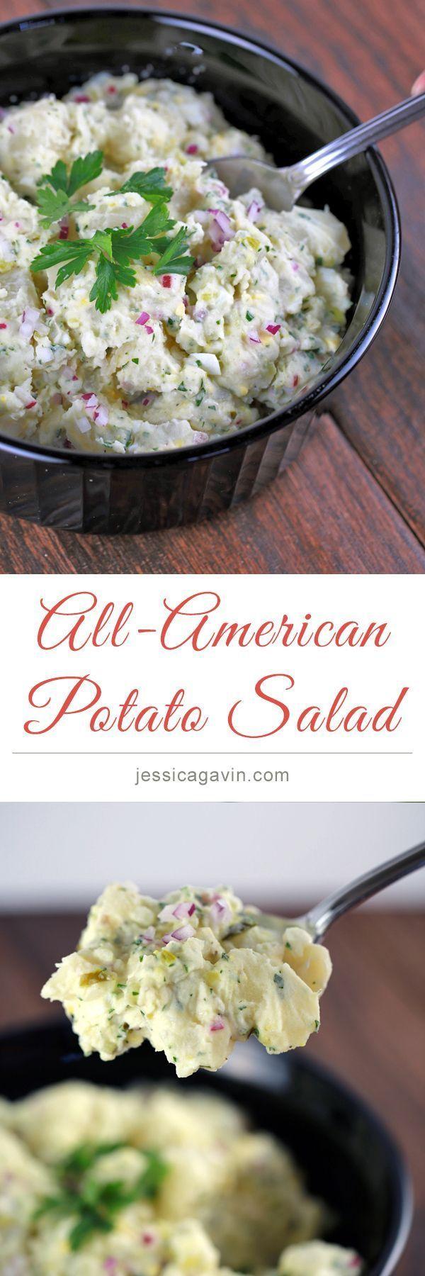 A delicious All-American Potato Salad | jessicagavin.com #potluck #bbq