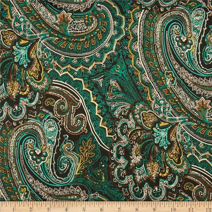 Isabella Satin Paisley Green from @fabricdotcom  This very lightweight satin fabric features a fluttery drape and a low luster satin face. It is similar to a very lightweight satin-face crepe de chine fabric. Perfect for scarves, shirts, blouses or gathered skirts or dresses with a lining. Colors include teal green, aqua, yellow, brown and black.