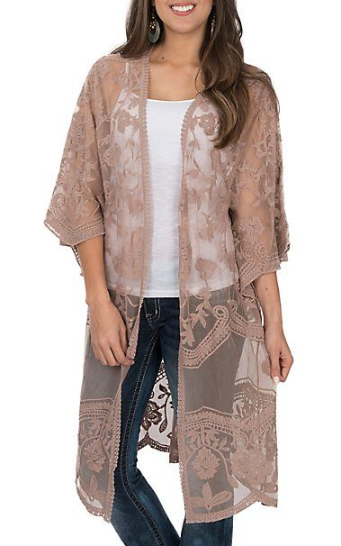 93835d1cff78 She + Sky Women's Light Mocha Crochet Lace Duster Cardigan | Cavender's